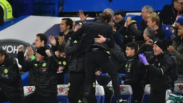 Antonio Conte celebrates yet another Chelsea goal. | Image credit: Chelsea FC