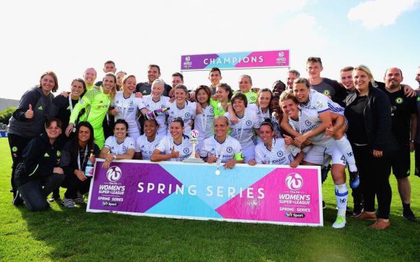 Chelsea Ladies celebrate winning the Spring Series. Source: Chelsea Ladies FC