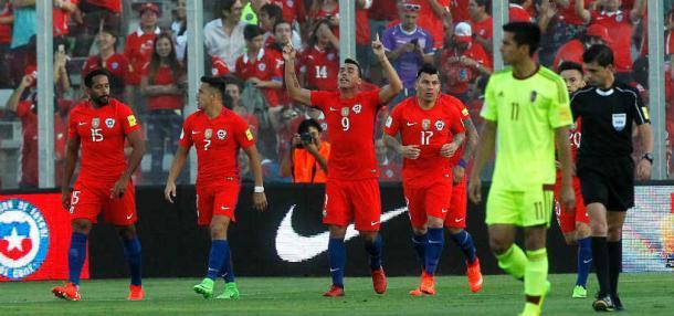 Paredes, celebrando su segundo gol. Fuente: latercera.com