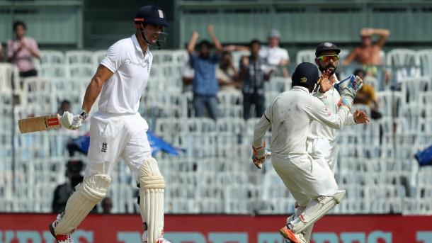 The hosts celebrate the wicket of Cook in the morning session | Photo: ECB