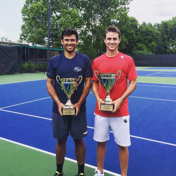 Jean-Yves Aubone and Andre Dome after winning the $15,000 Futures title in Tulsa, Oklahoma.   Photo via Jean-Yves Aubone's Twitter