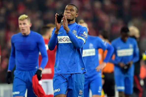 Kabasele applauds the Genk fans. | Image credit: William Van Hecke/Corbis via Getty Images