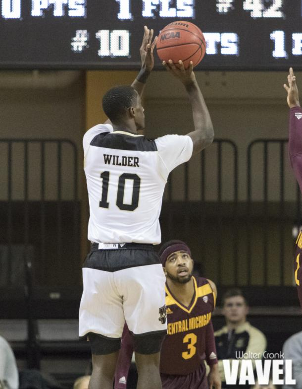 Thomas Wilder (10) of Western Michigan takes the open three point shot. Photo: Walter Cronk