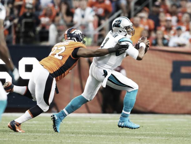 The Denver pass rush got to Newton in the second half   Source: foxsports.com