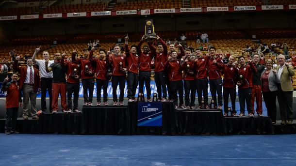 Oklahoma celebrates their tenth national title at the NCAA Men's Gymnastics Championships/OU Sports