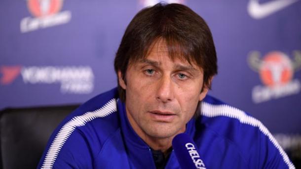 Antonio Conte en rueda de prensa. Foto: chelseafc