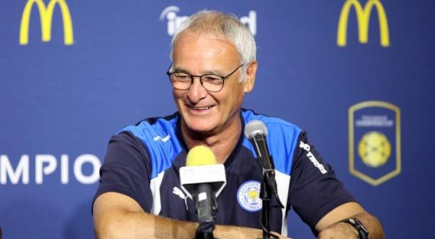 Ranieri during one of his Leicester pressers in pre-season. | Photo: Getty