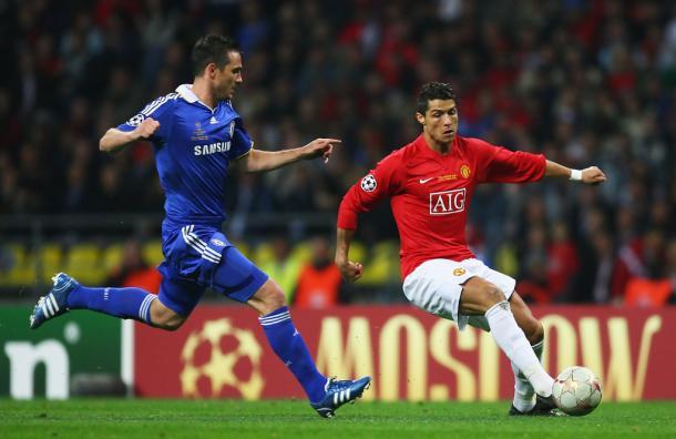 Cristiano Ronaldo vs Lampard. Foto. @ChampionsLeague