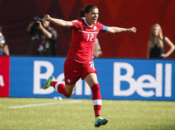 Sinclair celebrates a goal at her home World Cup - Can she break Abby Wambach's record? (Image credit: capebretonpost.com)