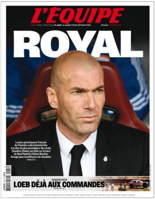 La portada de este martes 5 de enero de 2015 del diario L'Equipe. (Foto vía @lequipe).