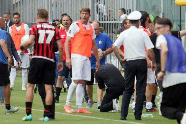 Gattuso was hit by a projectile | Photo: sportmediaset.mediaset.it