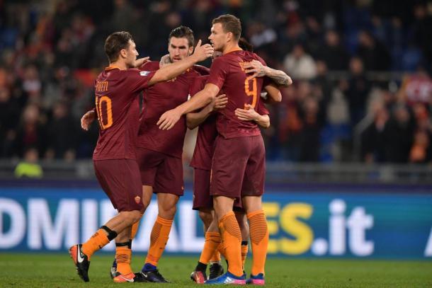 La gioia dei giocatori della Roma. Foto: Sport Mediaset.