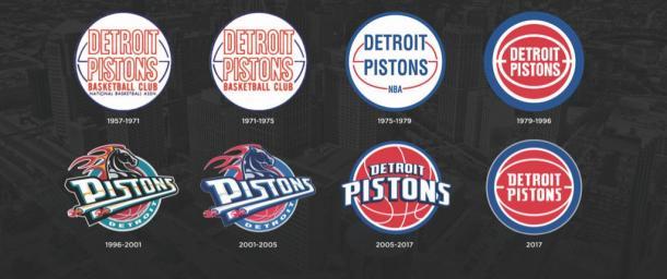 Evolución del logotipo de los Detroit Pistons. Fotografía: @DetroitPistons