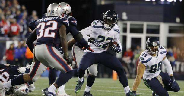 C.J. Prosise was the Seattle Seahawks leading rusher and receiver in their 31-24 vicotry over the New England Patriots | Source: David Butler II -  USA TODAY Sports