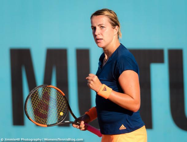Anastasia Pavlyuchenkova celebrates a point won in Madrid | Photo: Jimmie48 Tennis Photography