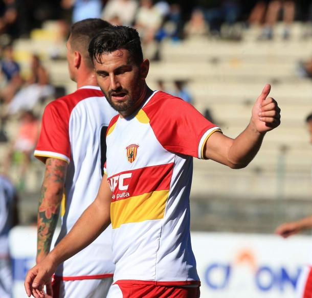 Massimo Coda in azione col Benevento | sannionews24