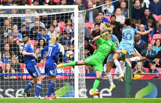 Carli Lloyd powering her header home. Source: Wembley Stadium