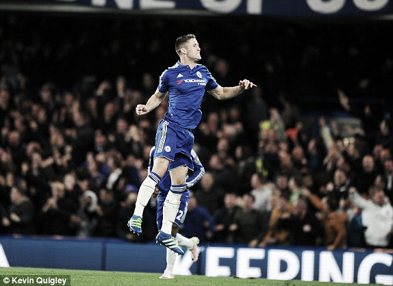 Above; Gary Cahill celebrates his goal in Chelsea's 2-1 defeat to Tottenham | Photo: Kevin Quigley