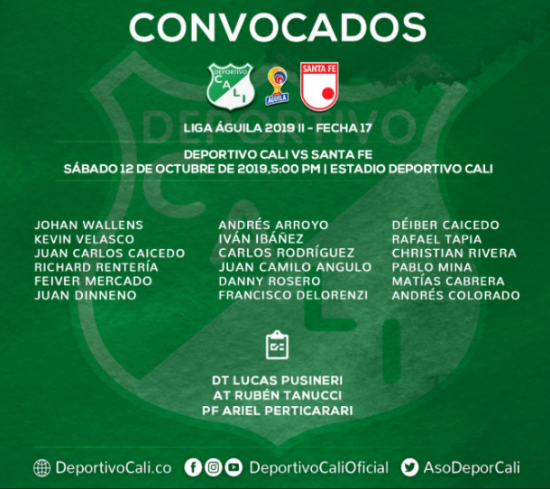 Los convocados del Deportivo Cali. Cinco cambios en su nómina. Imagen: @AsoDeporCali