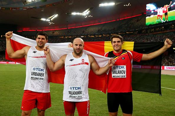 Robert Urbanek, Piotr Malachowski and Philip Milanov pose at the World Championships last year (Getty/Cameron Spencer)