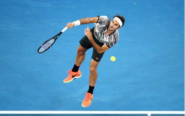 Federer was very efficient on his serve on Monday, slamming 19 aces. Credit: Cameron Spencer/Getty Images