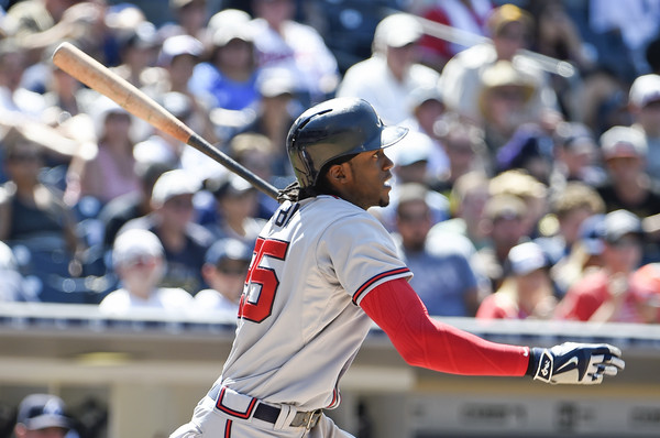 Cameron Maybin #25 of the Atlanta Braves hits a single during the eighth inning of a baseball game against the San Diego Padres at Petco Park August 19, 2015 in San Diego, California. (Aug. 18, 2015 - Source: Denis Poroy/Getty Images North America)