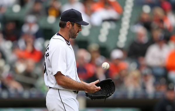 Justin Verlander #35 of the Detroit Tigers reacts to giving up a run scoring single during the fifth inning of the game against the Pittsburgh Pirates on April 11, 2016 at Comerica Park, Detroit, Michigan. (April 10, 2016 - Source: Leon Halip/Getty Images North America)