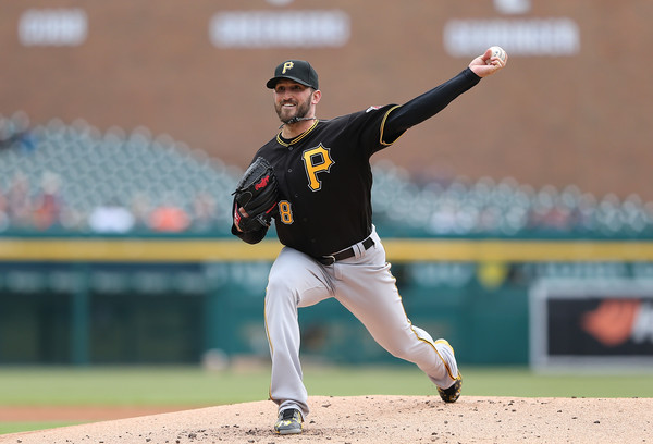 Jonathon Niese #18 of the Pittsburgh Pirates pitches during the first inning of the game against the Detroit Tigers during the game on April 11, 2016 at Comerica Park, Detroit, Michigan. (April 10, 2016 - Source: Leon Halip/Getty Images North America)