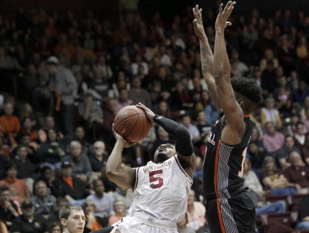 Johnson shook off a slow start to record a team-high 26 points in Winthrop's big win/Photo: Chuck Burton/Associated Press