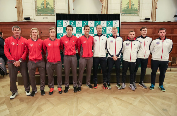 Team Canada and Great Britain with their captains at the draw (Photo by Andre Ringuette/Getty Images)