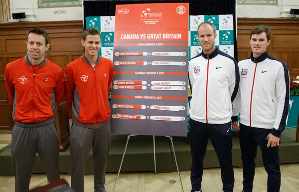 The doubles teams attend the draw ceremony (Photo by Andre Ringuette/Getty Images)