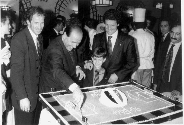 Berlusconi e Capello festeggiano lo Scudetto del 1996, gazzetta.it