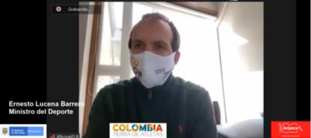 Ernesto Lucena, hablando de lo que será el vuelo del deporte. Imagen: captura de pantalla MinDeporte.