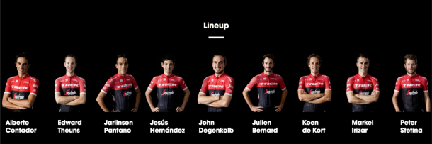 Alineación Trek-Segafredo para la Vuelta 2017 | Fotografía: Trek-Segafredo
