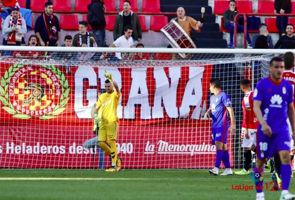 Dimitrievski celebra el error de Saúl Berjón | Imagen: La Liga 123