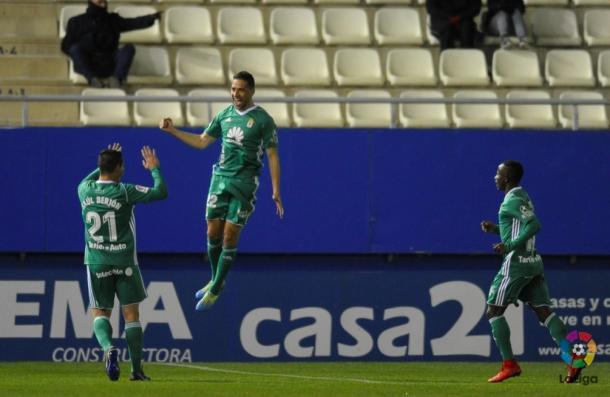 David Rocha celebra su gol ante el Lorca | Imagen: La Liga