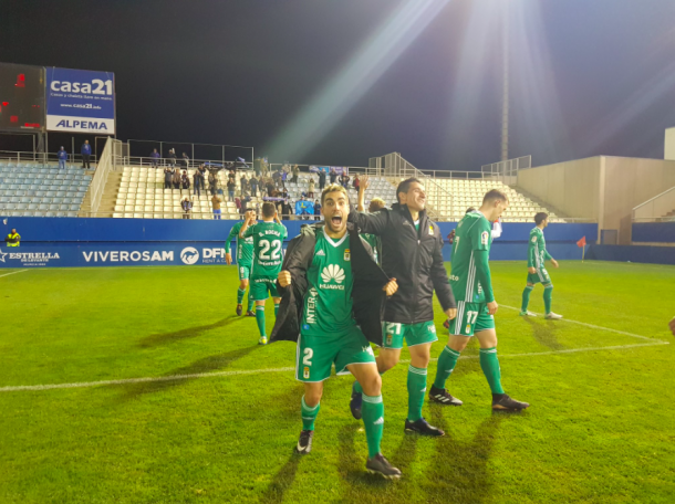 Diegui Johannesson celebra la victoria lograda | Imagen: Real Oviedo