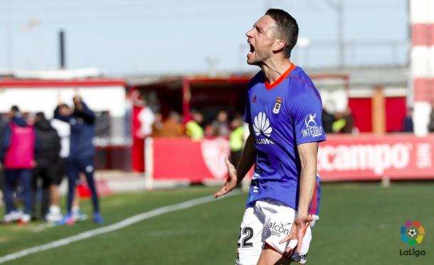 David Rocha celebra uno de sus goles de falta en este caso ante Sevilla Atlético | Imagen: La Liga