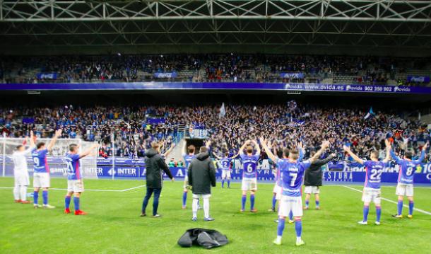 La Haka vikinga en la conclusión del encuentro | Imagen: Real Oviedo