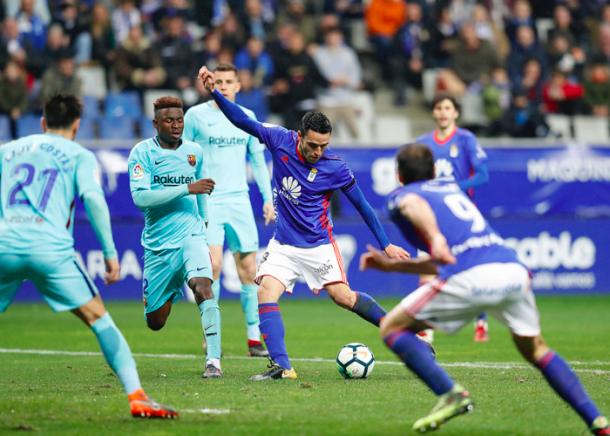 Folch tendrá que ver el siguiente partido desde casa   Imagen: Real Oviedo