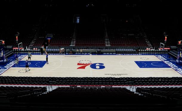 Los Sixers entrenan en su estadio.   Fotografía: @sixers