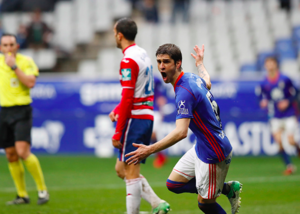 Juan Forlín celebra su gol al Granada | Imagen: Real Oviedo