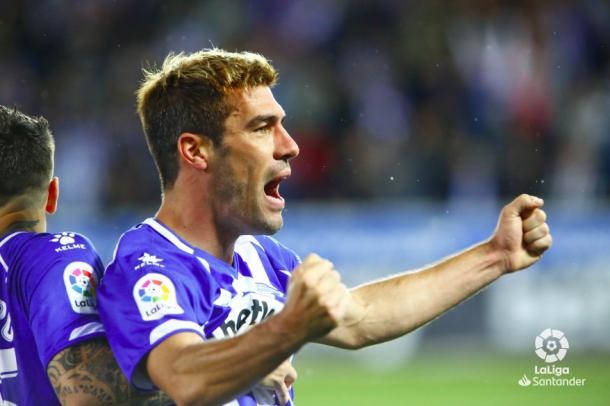 Manu García celebra el tanto de la victoria. Foto: LaLiga