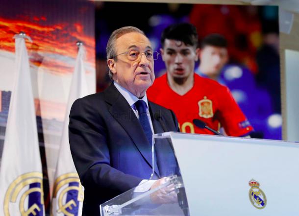 Florentino Pérez en el Palco de Honor. Foto: Real Madrid.