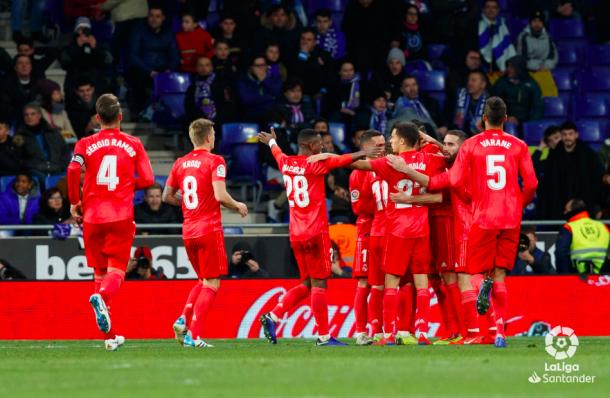 El Madrid celebra la victoria ante el Espanyol. Foto: Liga Santander.