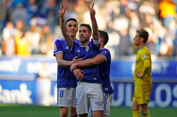 Diegui dedicó su gol a Mossa, todavía en el hospital   Imagen: Real Oviedo