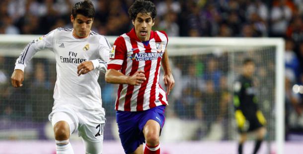 Morata en un derbi con el Real Madrid. Foto: Atlético de Madrid.
