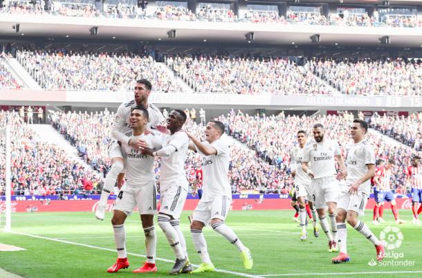 El Real Madrid celebra el gol de Casemiro. Foto: Liga Santander.