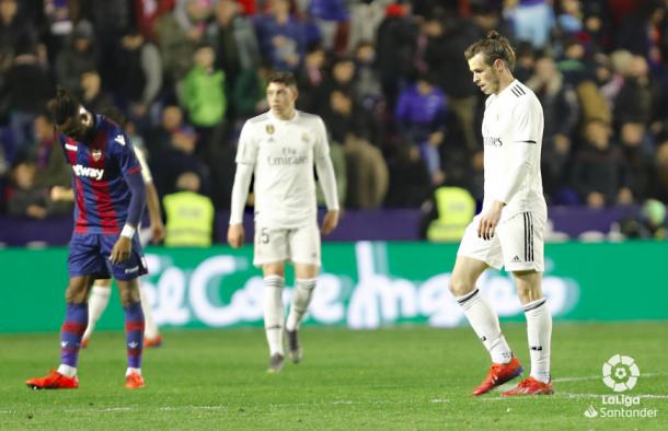 Bale, cabizbajo al finalizar el partido ante el Levante. Foto: Liga Santander.