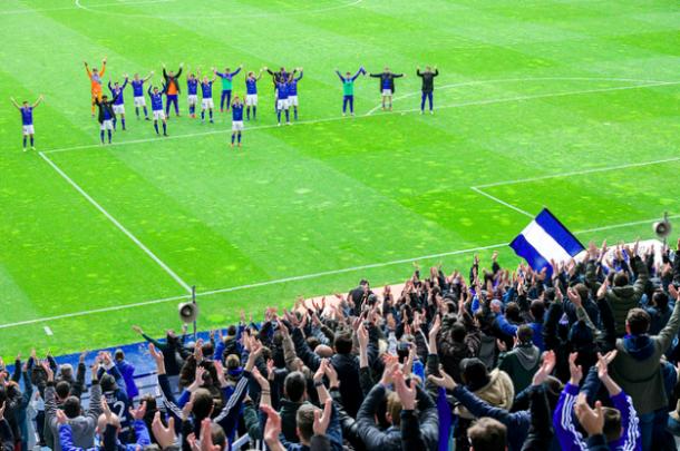 Celebración tras la última victoria   Imagen: Real Oviedo